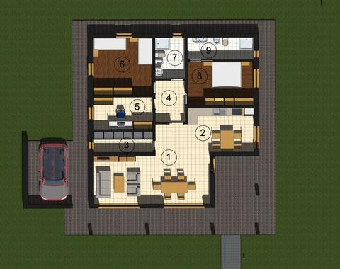 Pianta villa a 1 piano da 124 mq