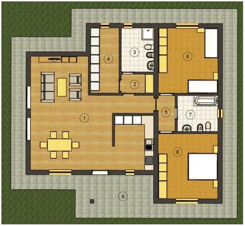 Planimetria villa 1 piano tradizionale 133,40 mq