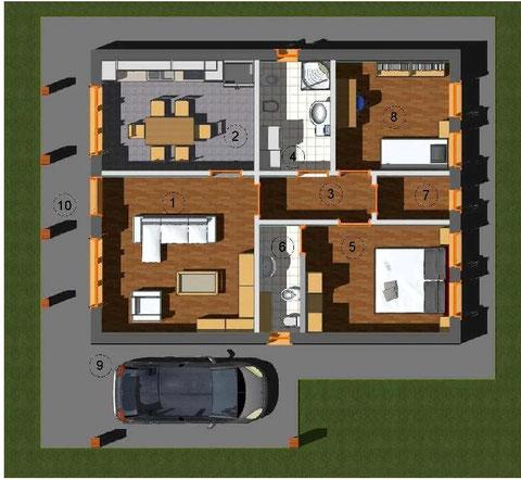 Planimetria villa 1piano, tradizionale, 90mq