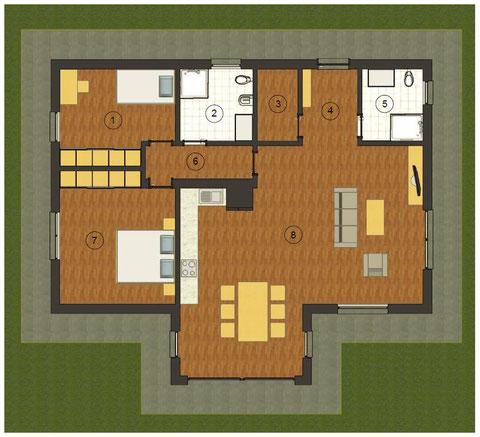 Planimetria villa 1 piano tradizionale 120 mq