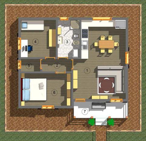 Planimetria villa 1 piano, tradizionale, 76.50mq
