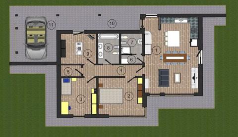Planimetria villa 1 piano moderna 123 mq