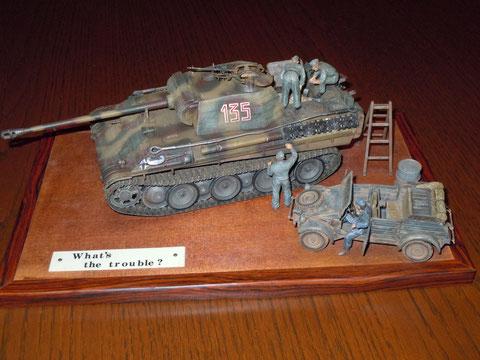 ドイツ パンサー戦車とキューベルワーゲンのプチジオラマ