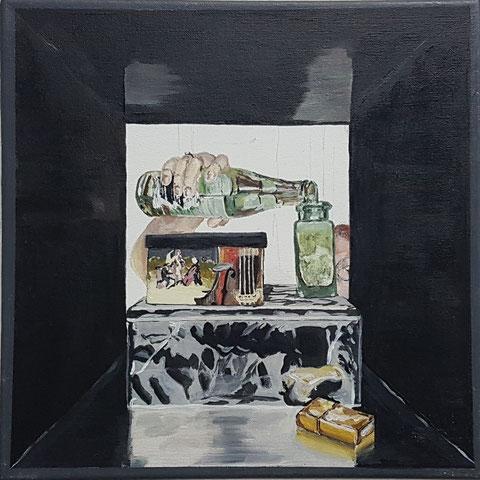"""""""Kallax I"""" 35x35 cm, Acryl auf Leinwand, 2018"""