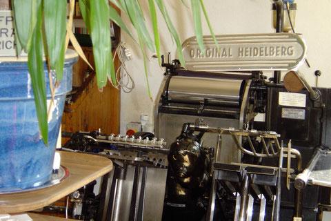 Druckerei, Original Heidelberger Tiegel, Druckmaschine, Letterpress, Buchdruck, Tiegel, Maschine