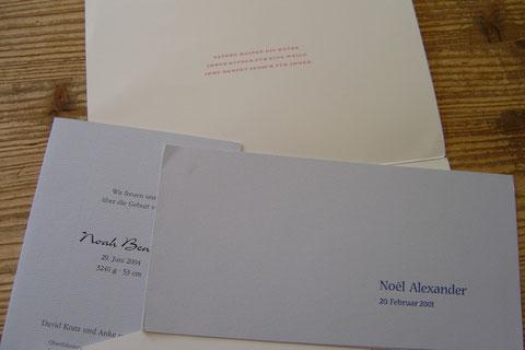 Geburtsanzeigen, Letterpress