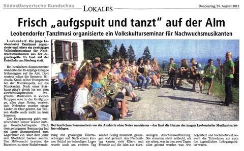 Südostbayerische Rundschau vom 25.08.2011