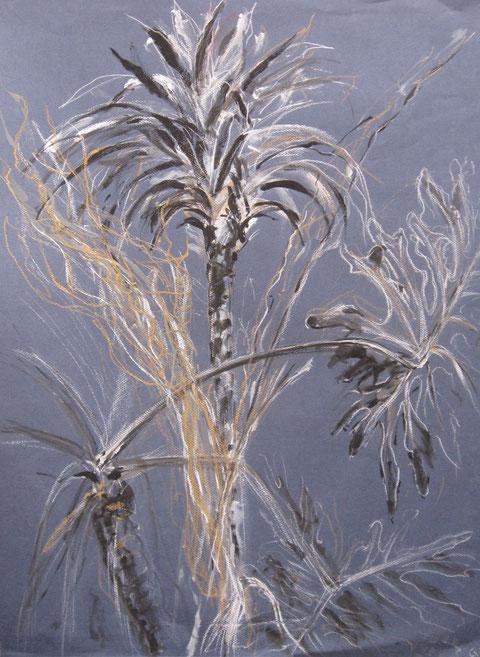 Plantes-technique mixte a l'eau sur papier