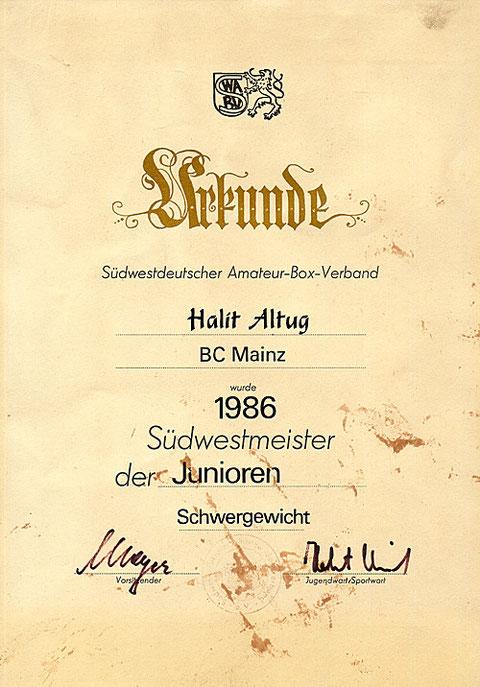 Bild Urkunde Südwestmeister