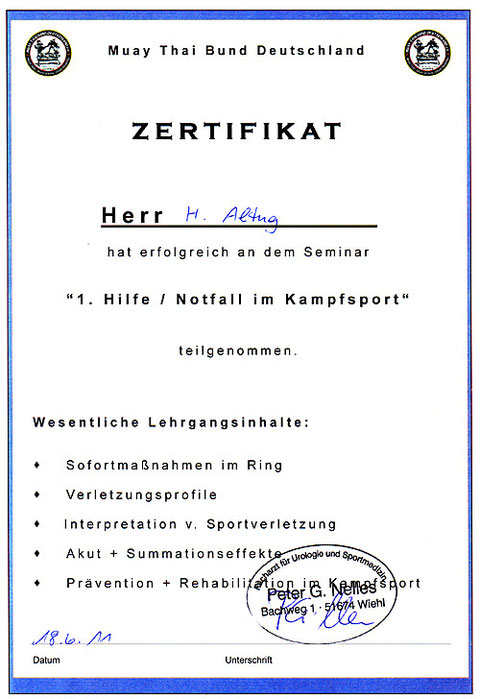 Bild Urkunde Erste Hilfe