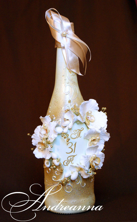 Шампанское «Орхидея капучино» на 31 годовщину (смуглая свадьба) В любом желаемом цвете, с желаемой монограммой, стоимость декора 750грн
