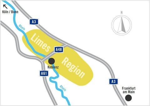 Die Limes Region liegt im Dreieck zwischen Frankfurt am Main, Koblenz und Köln/Bonn