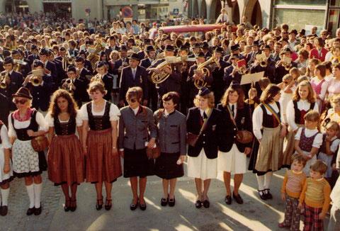 1976: Bezirksmusikfest mit Marschmusikbewertung unter der Teilnahme von 14  Kapellen aus dem Bezirk in Böheimkirchen am 12. September