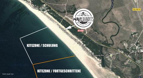 Kiten Lernen mit Platz und Sicherheit. Rescue Boot, waveBandits Kite- Spot Tarifa, Andalusien, Cadiz, Costa de la Luz