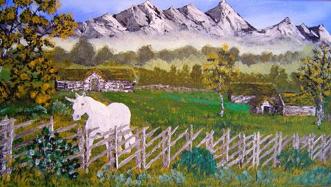 Einhorn auf einem Hof am Fuß der Bergkette Jättehem auf Godheim. Einhörner wurden auf Godheim wie Pferde als Reittiere verwendet.