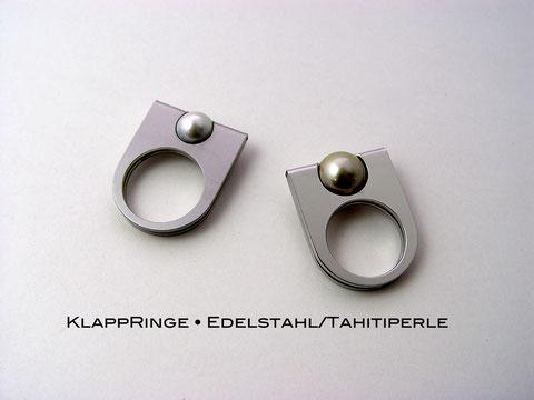 Klappringe • Edelstahl, Tahitiperle, aus der Goldschmiede Martin Wittwer • Schmuck & Objekt in Regensburg, Gesandtenstrasse 16