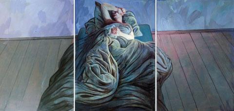 Lukas Johannes Aigner, Der Traum verhüllt durch Wirklichkeit, Triptychon, Acryl auf Tafel, 420x200 cm, 2008