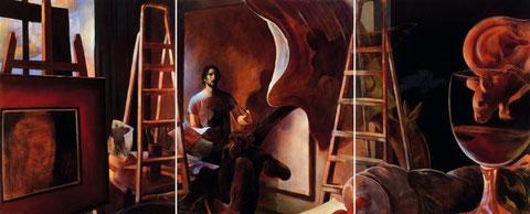 Lukas Johannes Aigner, Subventionsjäger sei auf der Hut die Kunst trägt neue Blüten,Triptychon 200x480, 2002
