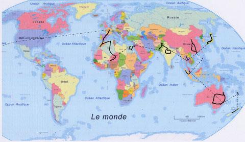 Itinéraire autour du monde (cliquer pour agrandir)