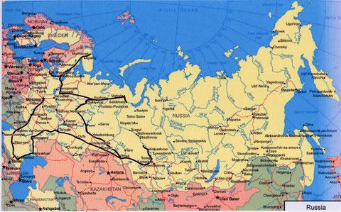 Itinéraire de voyage sur le territoire Russe