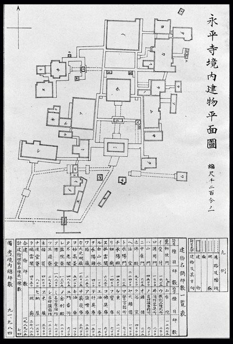 永平寺境内建物平面図-明治42年