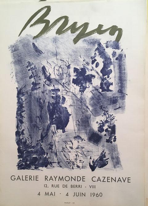 Camille BRYEN , affiche lithographique , Galerie Cazenave, 1960, Mourlot imprimeur , en vente à la galerie Agnes Thiébault