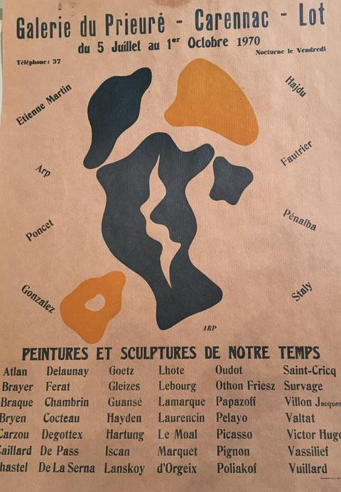 Hans ARP,  Galerie du Prieuré, 1970 exposition Peintures et sculptures de notre temps, 1970 affiche lithographique en vente à la galerie Agnès Thiébault