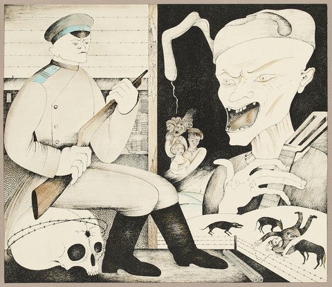 Michel Chemiakine lithographie , ensemble de 6 planches  expose à la Galerie Agnès Thiébault