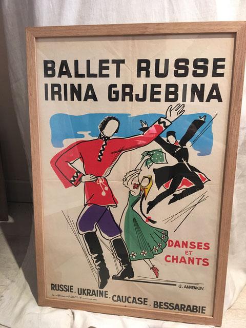 Georges ANNENKOFF , ballet russe , affiche lithographique 60 x 39,8 cm cadre  en vente à la galerie Agnès Thiébault
