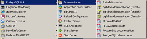 Start-Menu entries for postgresql