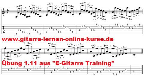"""Spieltechnik Übung 1.11 aus """"E-Gitarre Training - Fingerfertigkeit am Griffbrett"""" von Jörg Sieghart"""