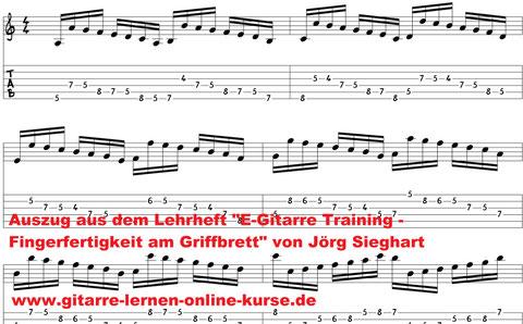 """E-Gitarre Warm Up (Auszug aus """"E-Gitarre Training - Fingerfertigkeit am Griffbrett"""" von Jörg Sieghart)"""