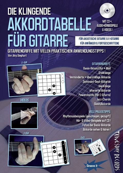 Die klingende Akkordtabelle für Gitarre - Grifftabelle für Anfänger und Fortgeschrittene mit vielen praktischen Anwendungsbeispielen - mit CD+ (Audio/Video) !