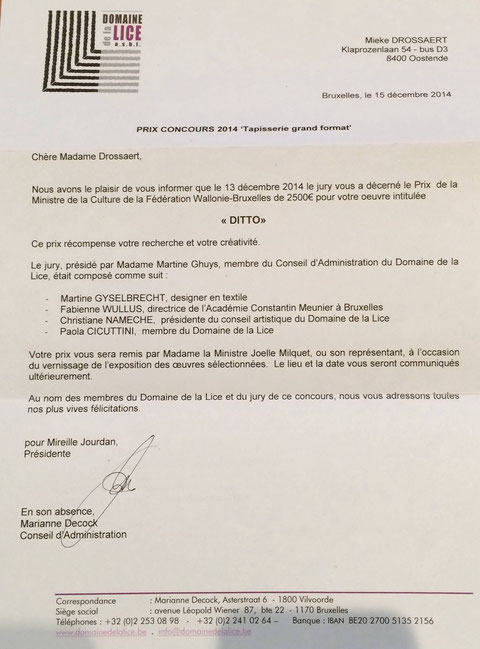 Officiële brief dat Mieke Drossaert de Wedstrijd Wandtapijt groot formaat gewonnen heeft
