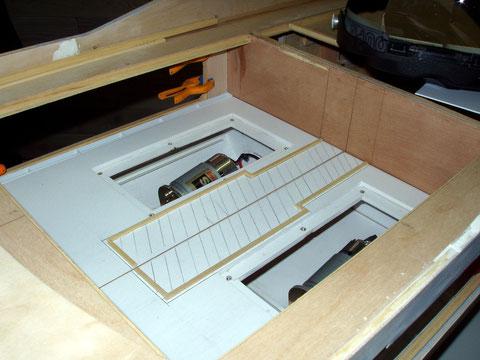 Tracé du local technique qui recevra les moteurs des mécanismes d'ouverture des portes
