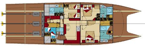Détail des aménagement du pont inférieur: 3 cabines + cuisine et quartier équipages (2 marins)