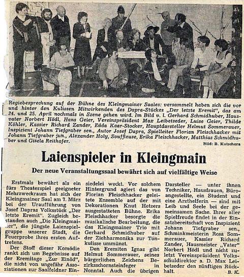 """Mit dem Stück """"Der letzte Eremit"""" wird der Grundstein der """"Kleingmainer"""" gelegt (1981)"""
