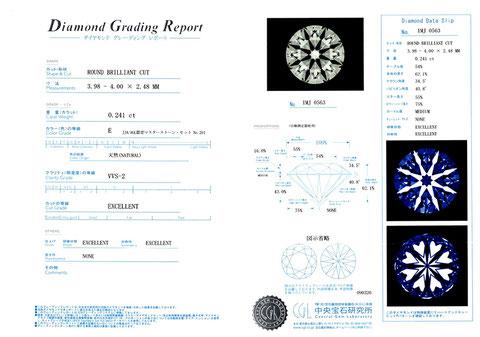 例:中央研究所のダイヤモンドグレーディングレポート付