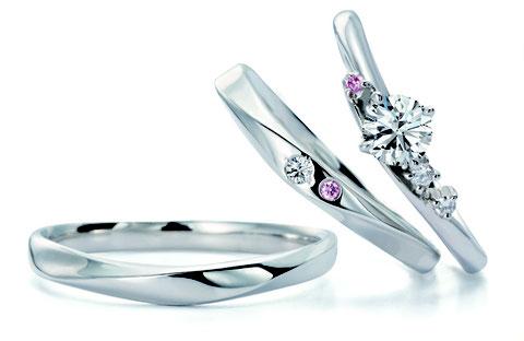 ブーケトス婚約指輪+結婚指輪