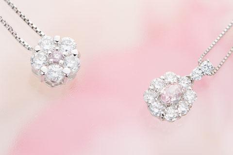プラチナナチュラル(天然)ピンクダイヤモンドペンダント