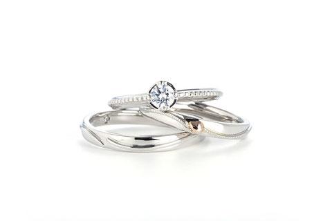 スィングハート指輪+結婚指輪