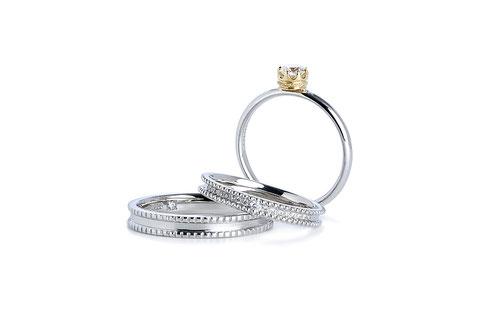 クラシックティアラ指輪+結婚指輪