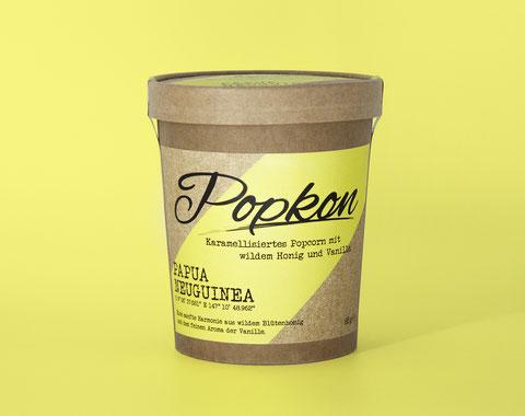 Honig Vanille Popcorn, Vanille aus Papua Neuguinea, Popcorn im Becher, Popcorn Start-up aus Hamburg, Popkon