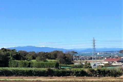 田畑越しに臨む相模湾の風景写真