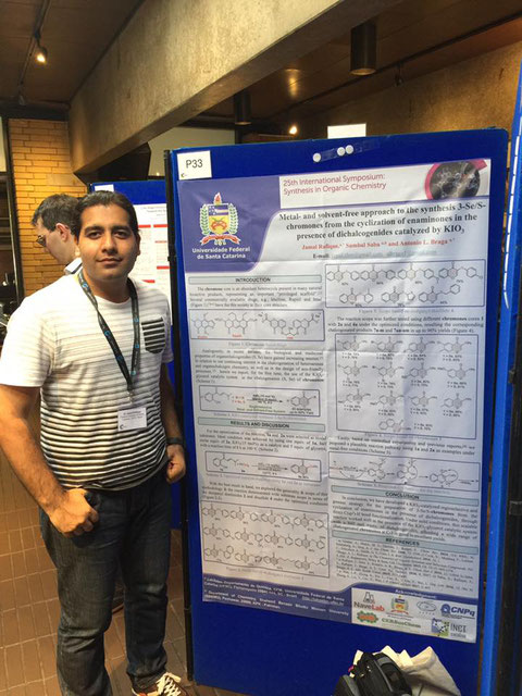 Poster presentation by Jamal at 25th international symposium synthesis in organic chemistry, Oxford - UK, 18-07-2017