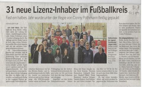 Heutiger Bericht in der Bergischen Landeszeitung (17.05.2017)
