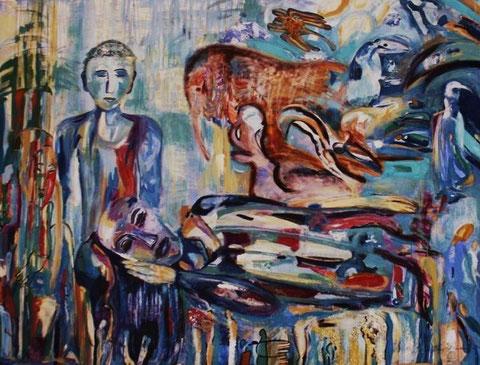 Spiegelwelten 2, Öl, Tusche, Dispersion auf Leinwand, 3 x 2 m ©  erdengoldkunstwerk Nathalie Arun