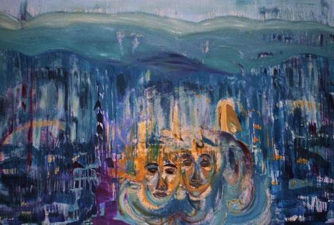 Spiegelwelten 1, Öl, Dispersion  auf Leinwand, 3 x 2m  ©  erdengoldkunstwerk Nathalie Arun
