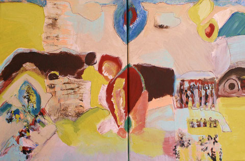 ´in the land of hope´, Diptychon, Graphit, Tusche, Acryl auf Leinwand, 60 x 40 cm zweiteilig ©  erdengoldkunstwerk Nathalie Arun