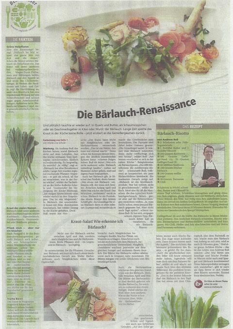 Die Bärlauch - Renaissance mit Facts von Andreas Buß - in der Oberhessischen Presse